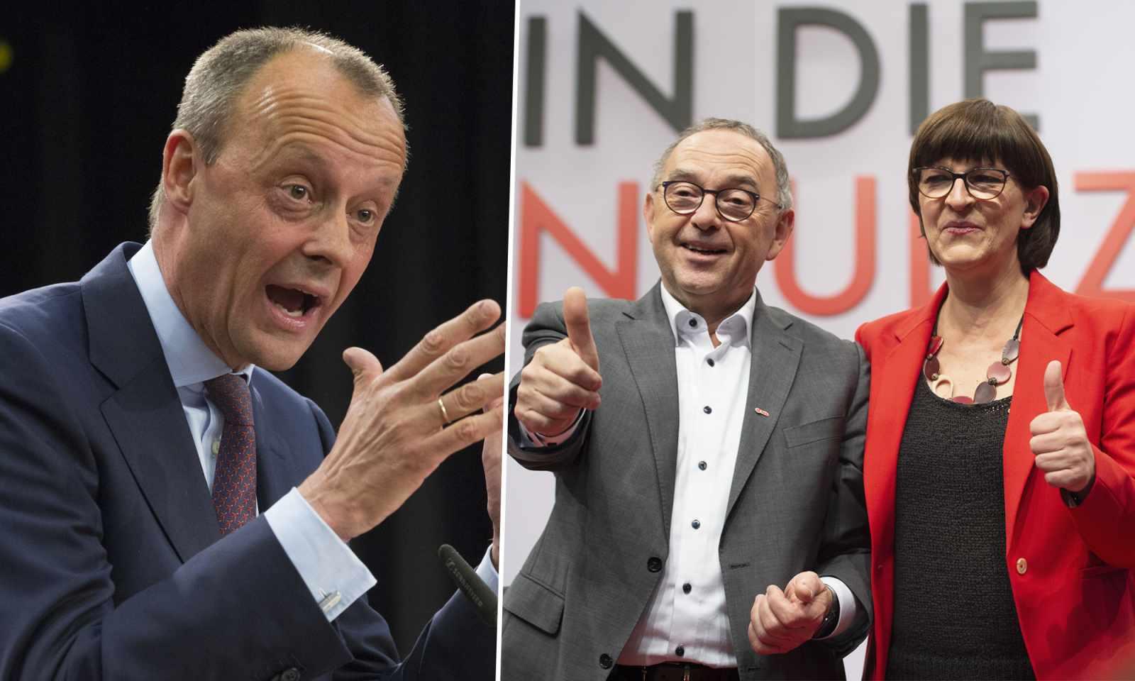 Friedrich Merz (l.), Norbert Walter-Borjans und Saskia Esken
