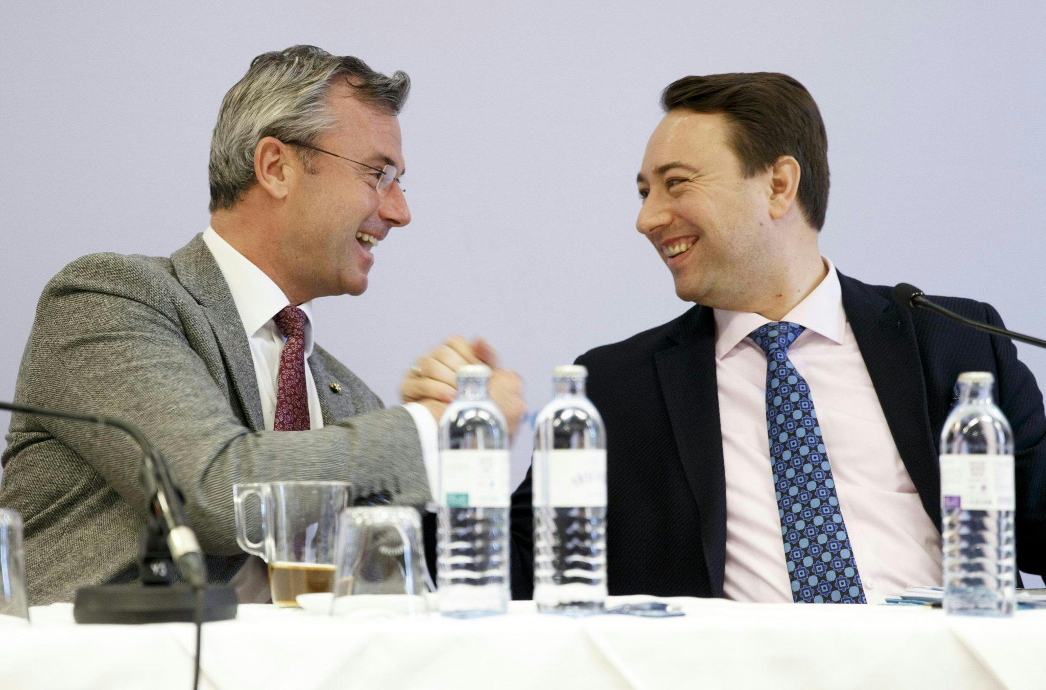FPÖ-Chef Norbert Hofer (l.) und Stellvertreter  Manfred Haimbuchner