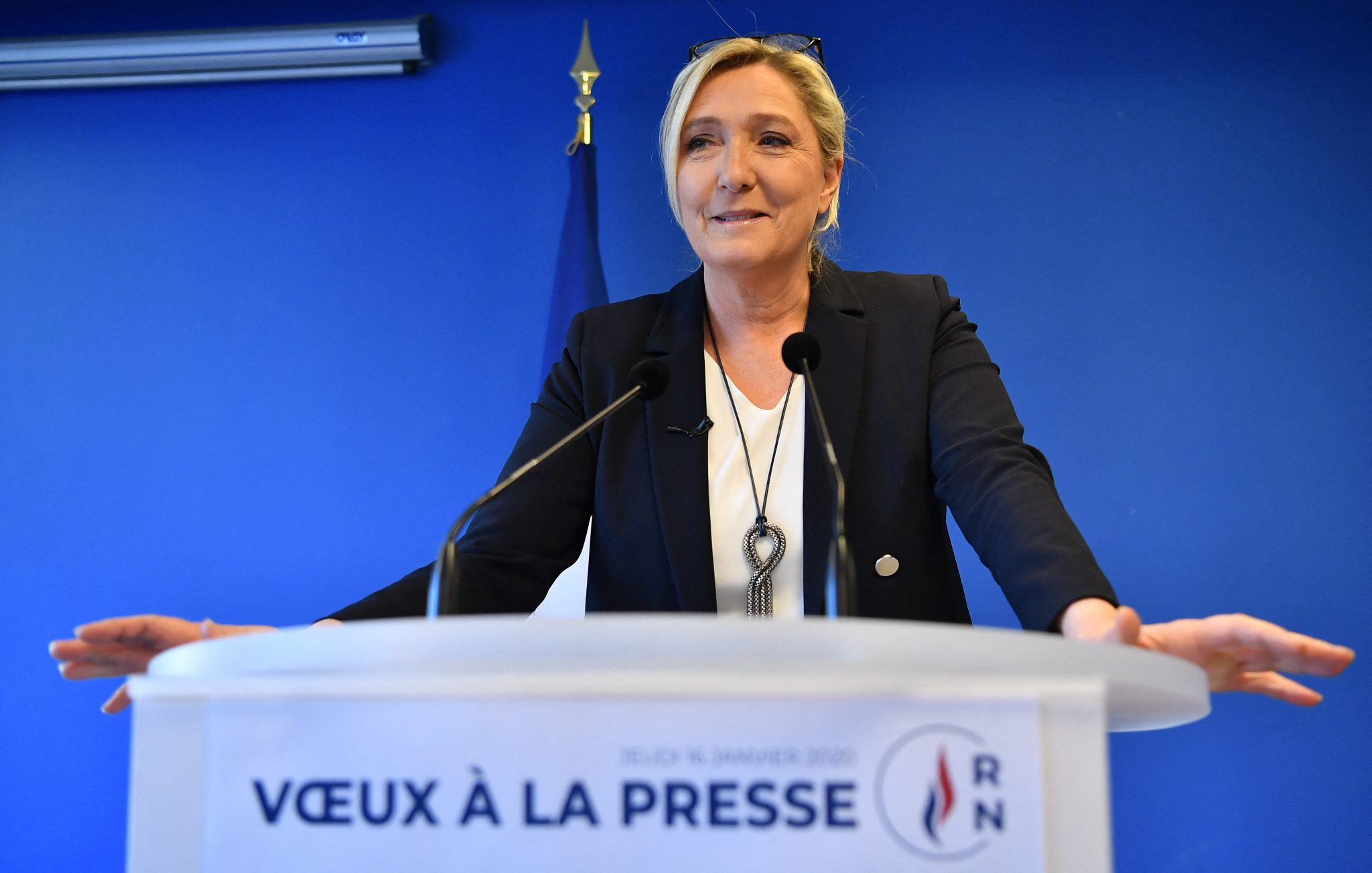 Marine Le Pen Addresses Her New-year Wishes - Paris