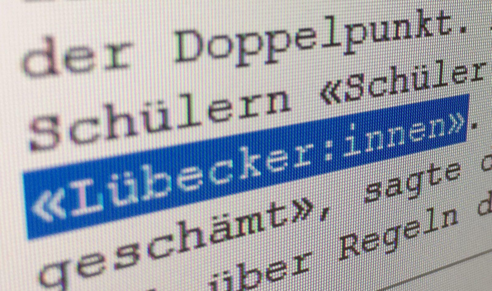 Lübeck ordnet Doppelpunkt für geschlechtsneutrale Sprache an