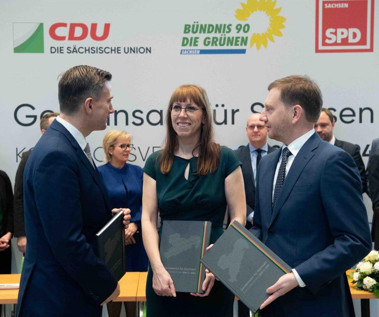 Landtag Sachsen - Unterzeichnung Koalitionsvertrag