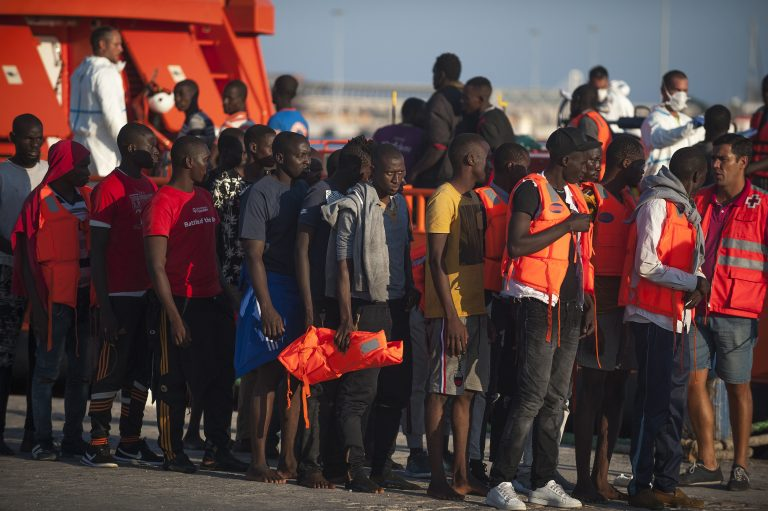 121 migrants rescued at port Malaga, Spain - 21 Sept 2018