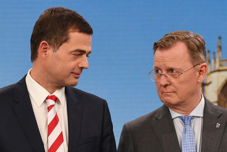 Mike Mohring (CDU, v.l.) und Bodo Ramelow (Linkspartei)