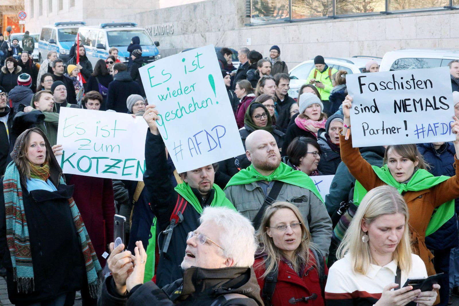 Protest gegen Ministerpräsidentenwahl