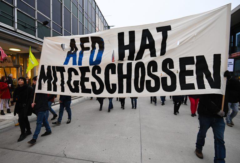 Demonstration gegen AfD nach Hanau