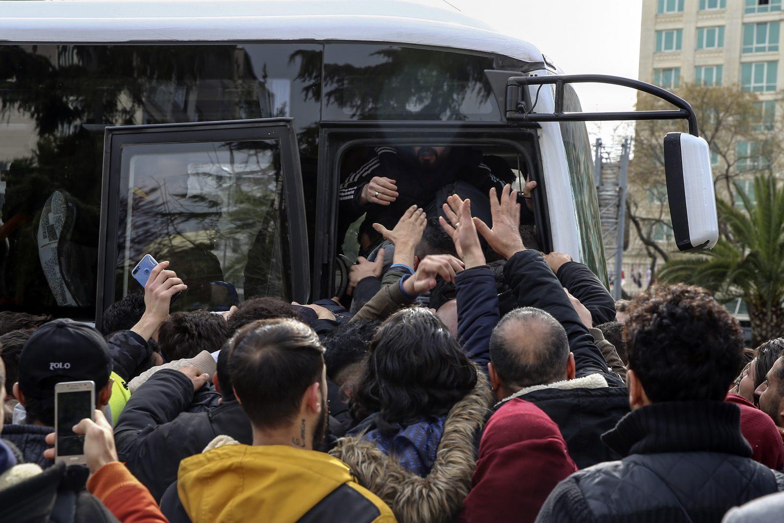 Irregular migrants heading to European border
