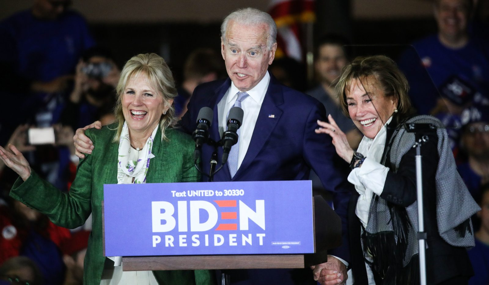 Former Vice President Joe Biden, 2020 Democratic presidential candidate, speaks while his wife Jill...