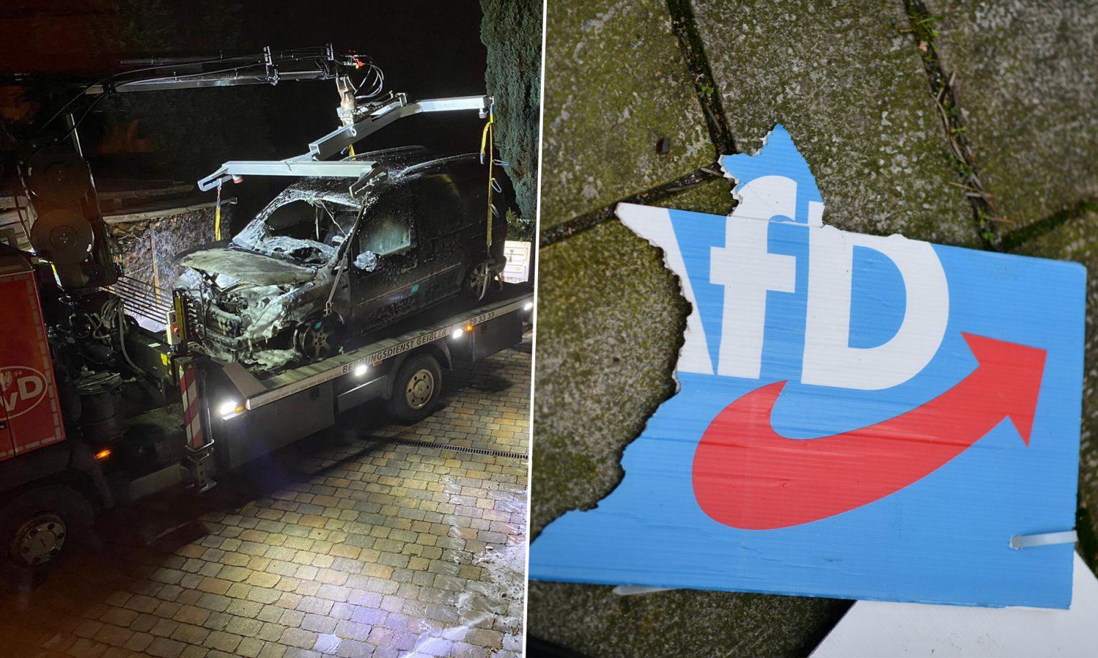 Abgebranntes Auto von AfD-Chef Chrupalla