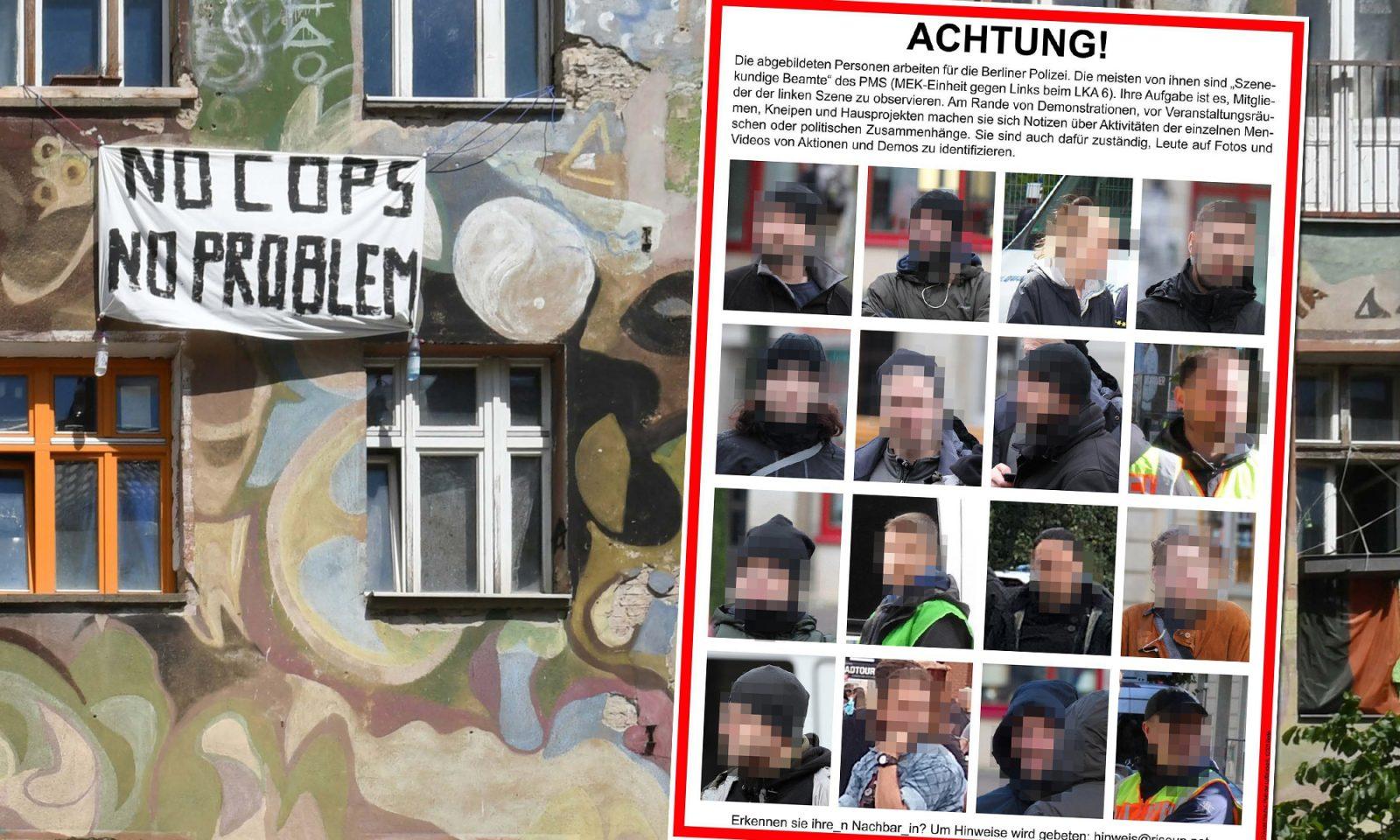 Besetztes Haus in der Rigaer Straße, linksextremes Plakat