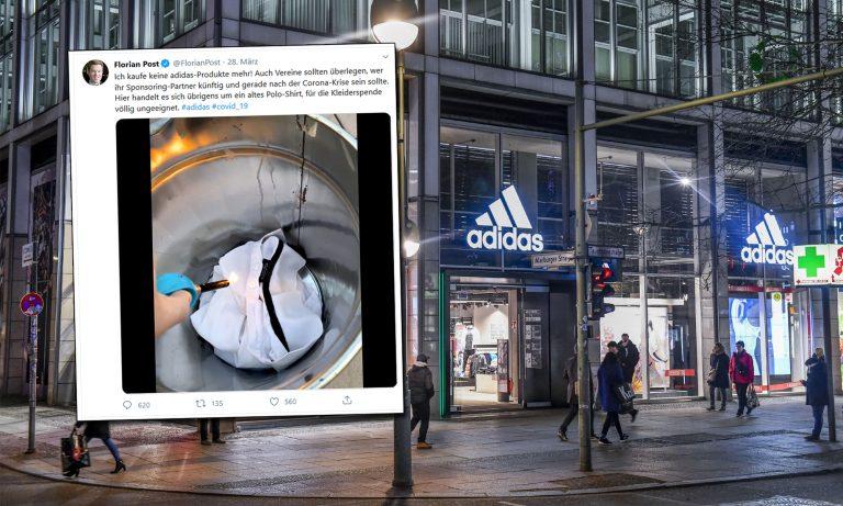 Tweet von Florian Post, Adidas-Filiale in Berlin