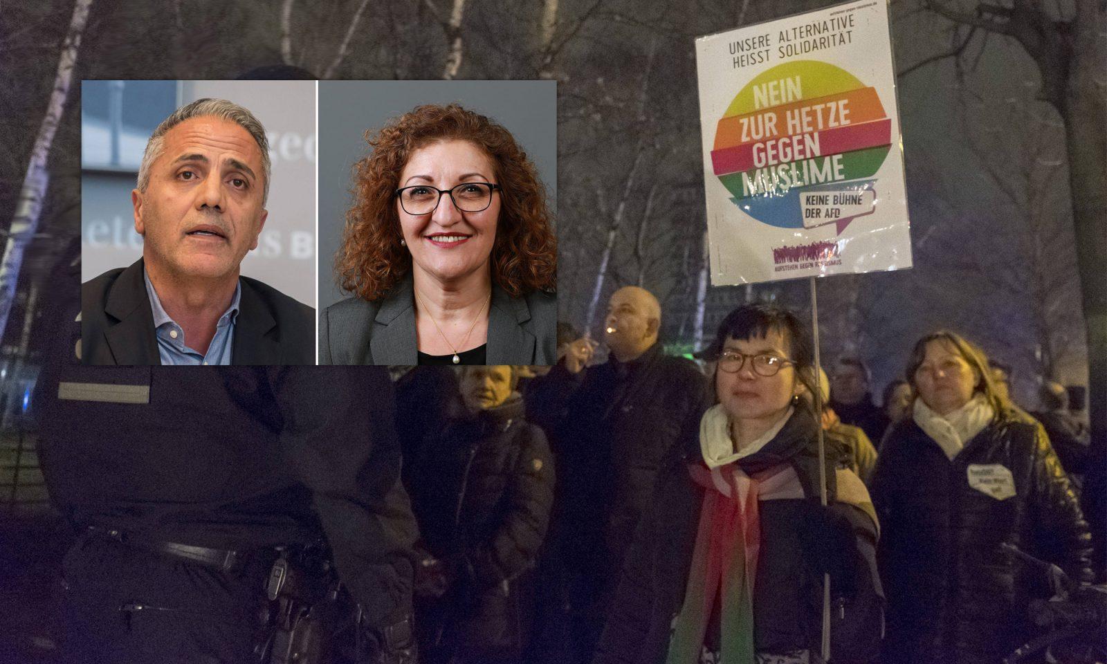 Hakan Taş (Linkspartei, l.) und Fatoş Topaç (Grüne), Kundgebung gegen Frauendemo 2018 in Berlin