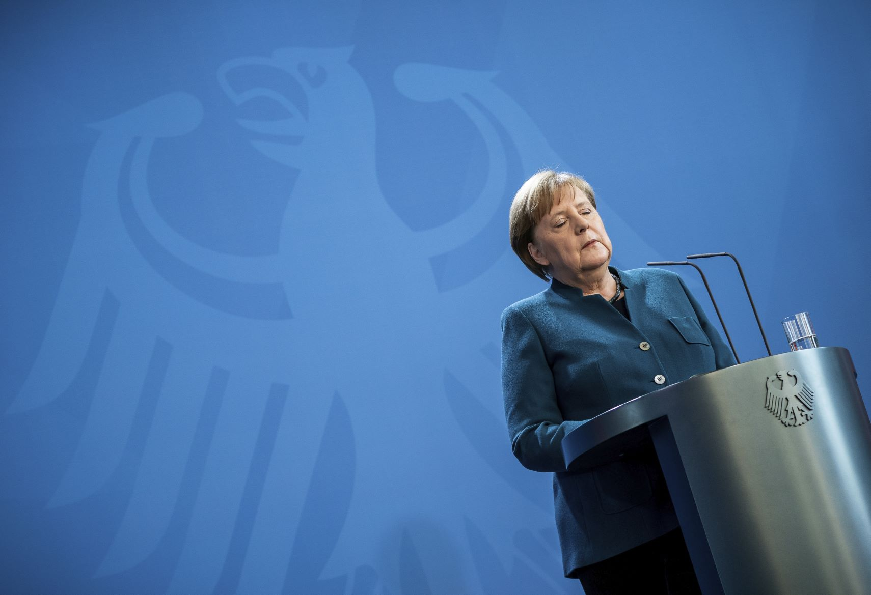 Bundeskanzlerin Angela Merkel während einer Stellungnahme zur Corona-Krise Ende März Foto: picture alliance / AP Photo