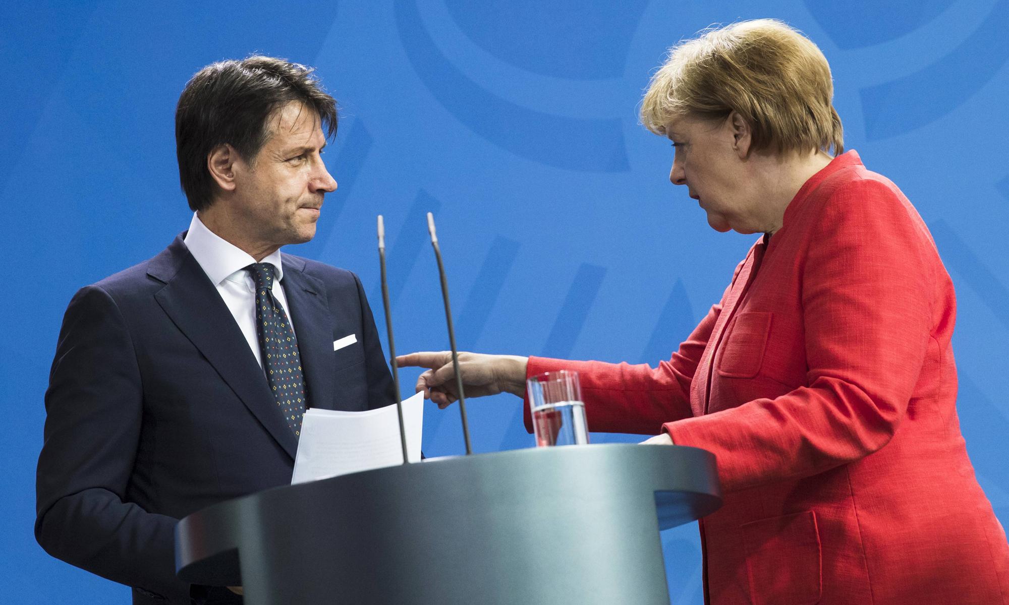 Giuseppe Conte (parteilos) und Angela Merkel (CDU)