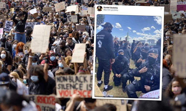 """Black Lives Matter""-Demonstration in Köln Fotos: picture alliance/Geisler-Fotopress / Twitter-Screenshot / JF-Montage"