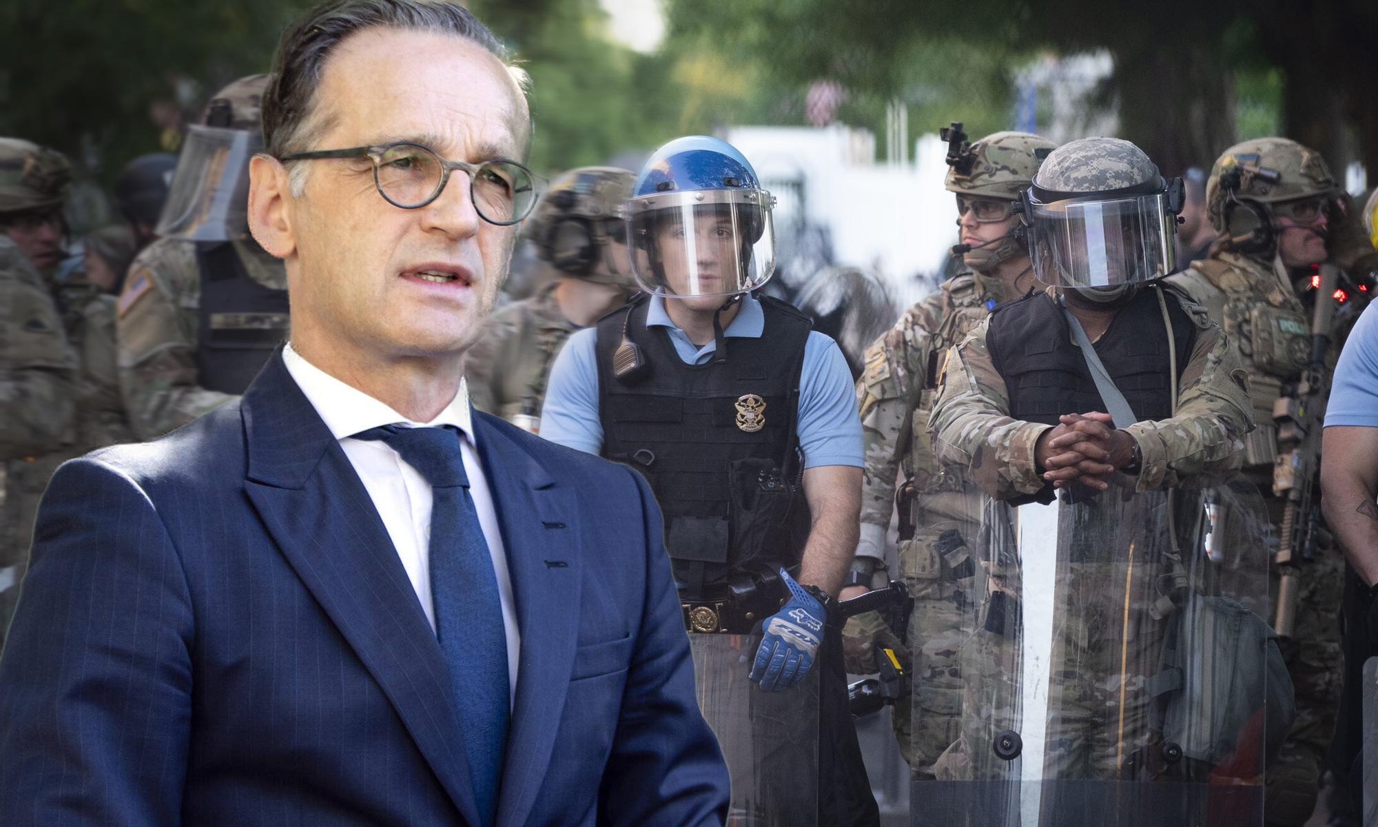 Heiko Maas (SPD), Militär- und Bereitschaftspolizei in Washington Fotos: picture alliance/ZUMA Press / imago images / photothek / JF-Montage