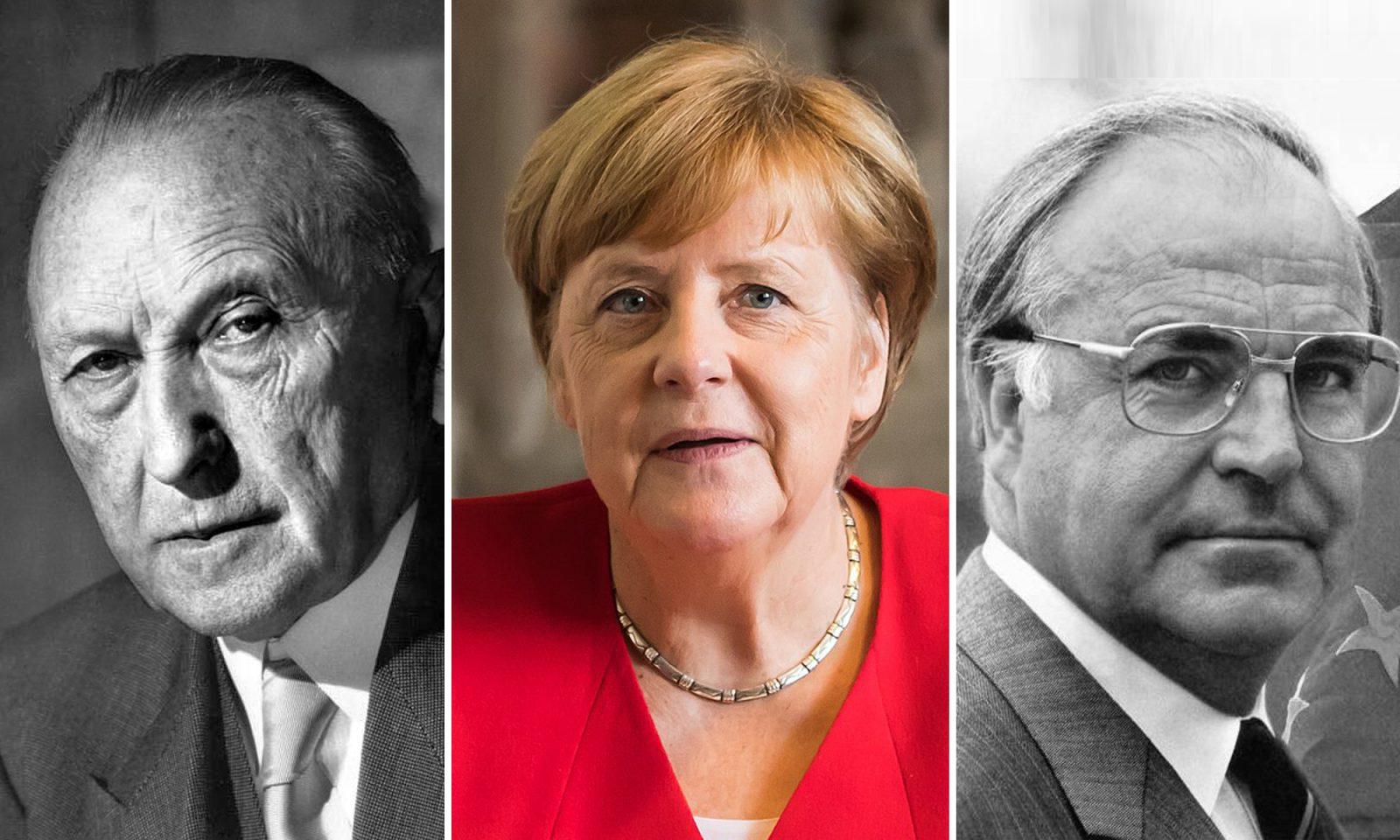 Konrad Adenauer, Angela Merkel, Helmut Kohl Foto: Bundesarchiv, B 145 Bild-F078072-0004 / Katherine Young / CC BY-SA 3.0 DE / Wikimedia.org/Konrad-Adenauer-Stiftung/CC3.0 / Raimond Spekking / CC BY-SA 4.0 / JF-Montage