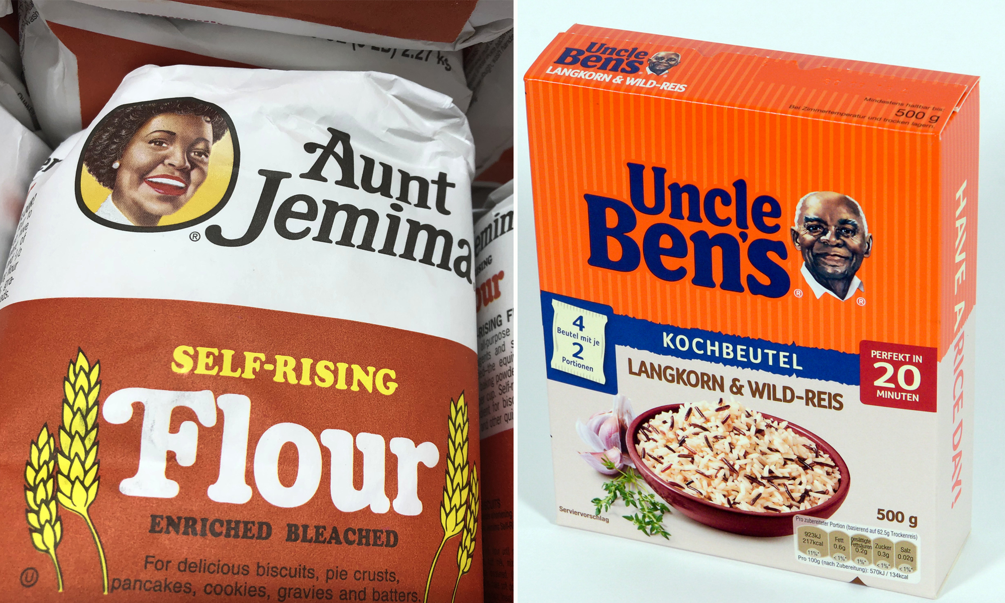"Produkte von ""Uncle Ben's"" und ""Aunt Jemima"" Fotos: picture alliance/ZUMA Press / dpa / JF-Montage"