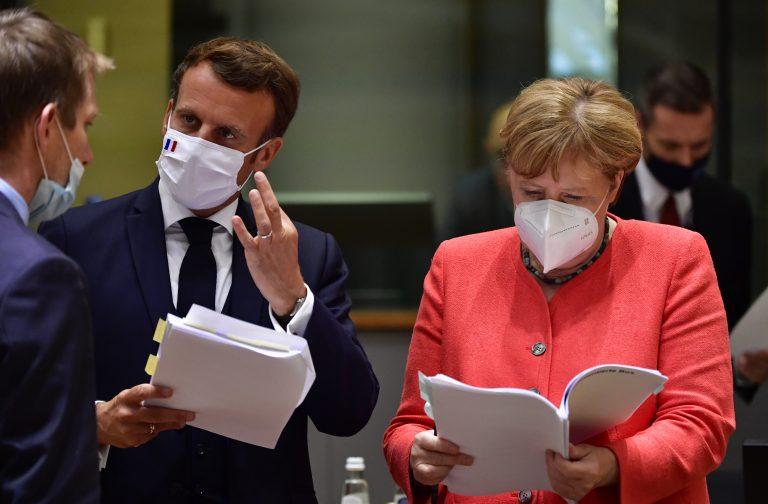 Emmanuel Macron (En Marche) und Angela Merkel (CDU)