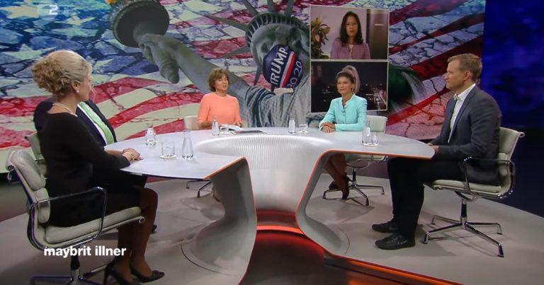 Die Runde von Moderatorin Maybrit Illner war sich einig in der Kritik an US-Präsident Donald Trump Foto: ZDF Mediathek / Screenshot