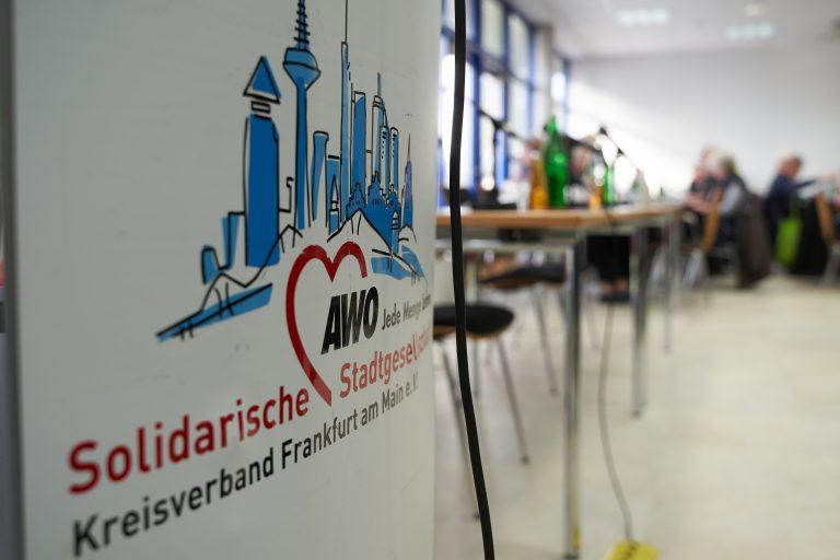 Logo des AWO-Kreisverbandes Frankfurt am Main Foto: picture alliance/Thomas Frey/dpa