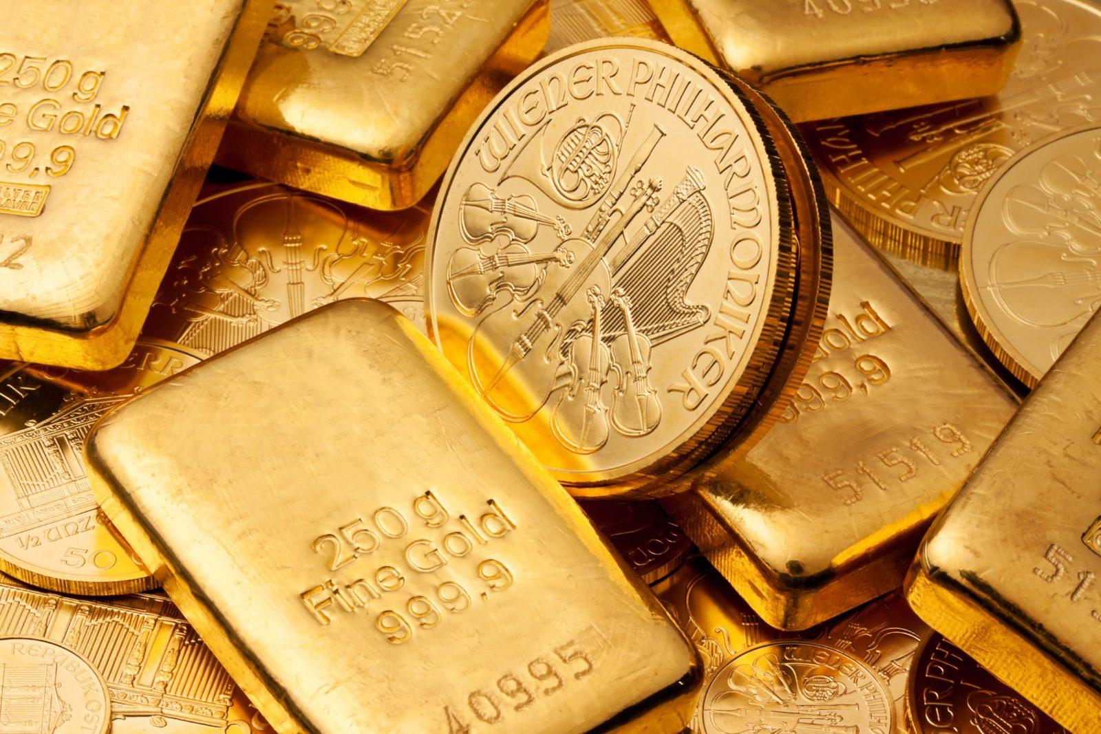 Goldbarren und Münzen als Wertanlage