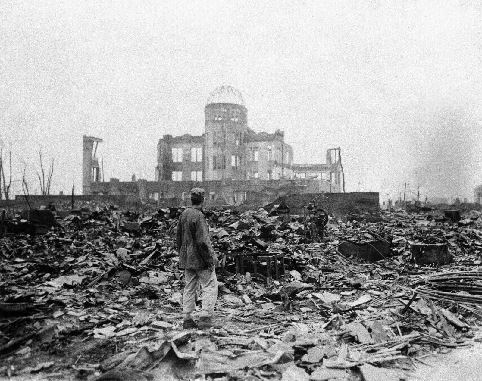 Die japanische Stadt Hiroshima wurde durch die Atombombe zerstört Foto: picture alliance / AP Photo