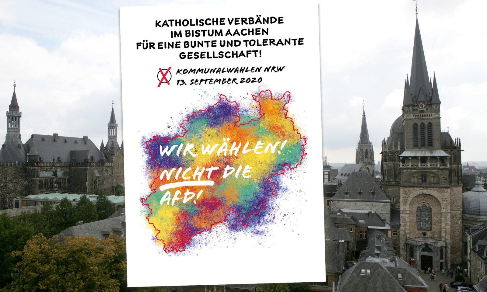 Aachener Dom (r.) und Rathaus, Plakat mit Nicht-Wahlempfehlung Fotos: dpa / (c) Verbänderat / JF-Montage