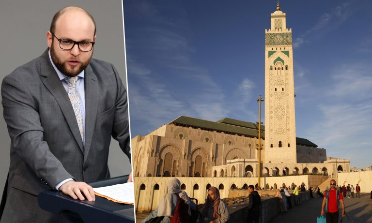 Markus Frohmaier (AfD), Moschee in Casablanca Fotos: picture alliance/Wolfgang Kumm/dpa / Godong / JF-Montage