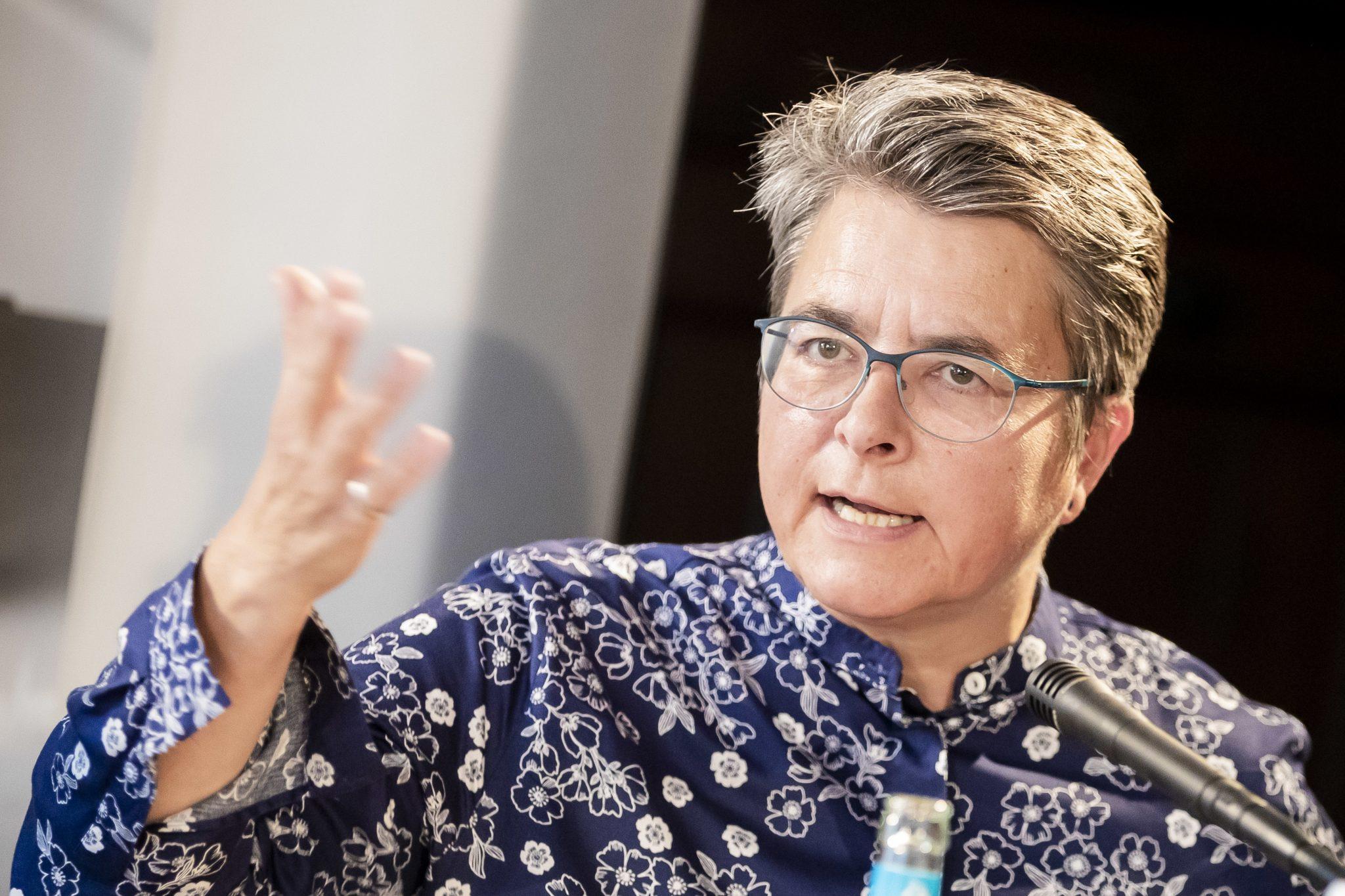 Die Bezirksbürgermeisterin von Friedrichshain-Kreuzberg, Monika Herrmann (Grüne), fordert mehr Polizeipräsenz Foto: picture alliance/Christoph Soeder/dpa