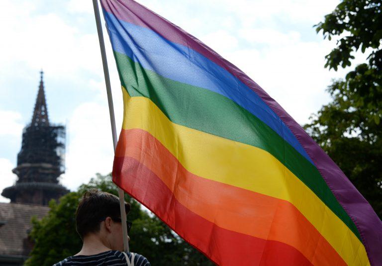 Regenbogenflagge vor dem Freiburger Münster (Archivbild) Foto: (c) dpa