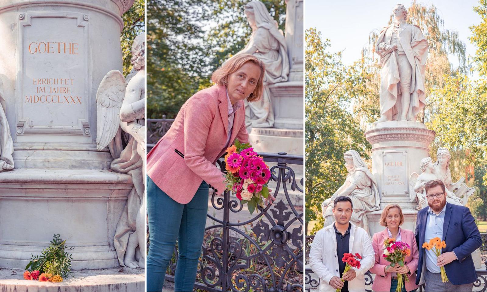 Die Co-Vorsitzende der AfD, Beatrix von Storch, legt Blumen am Goethe-Denkmal nieder Foto: AfD/JF-Montage