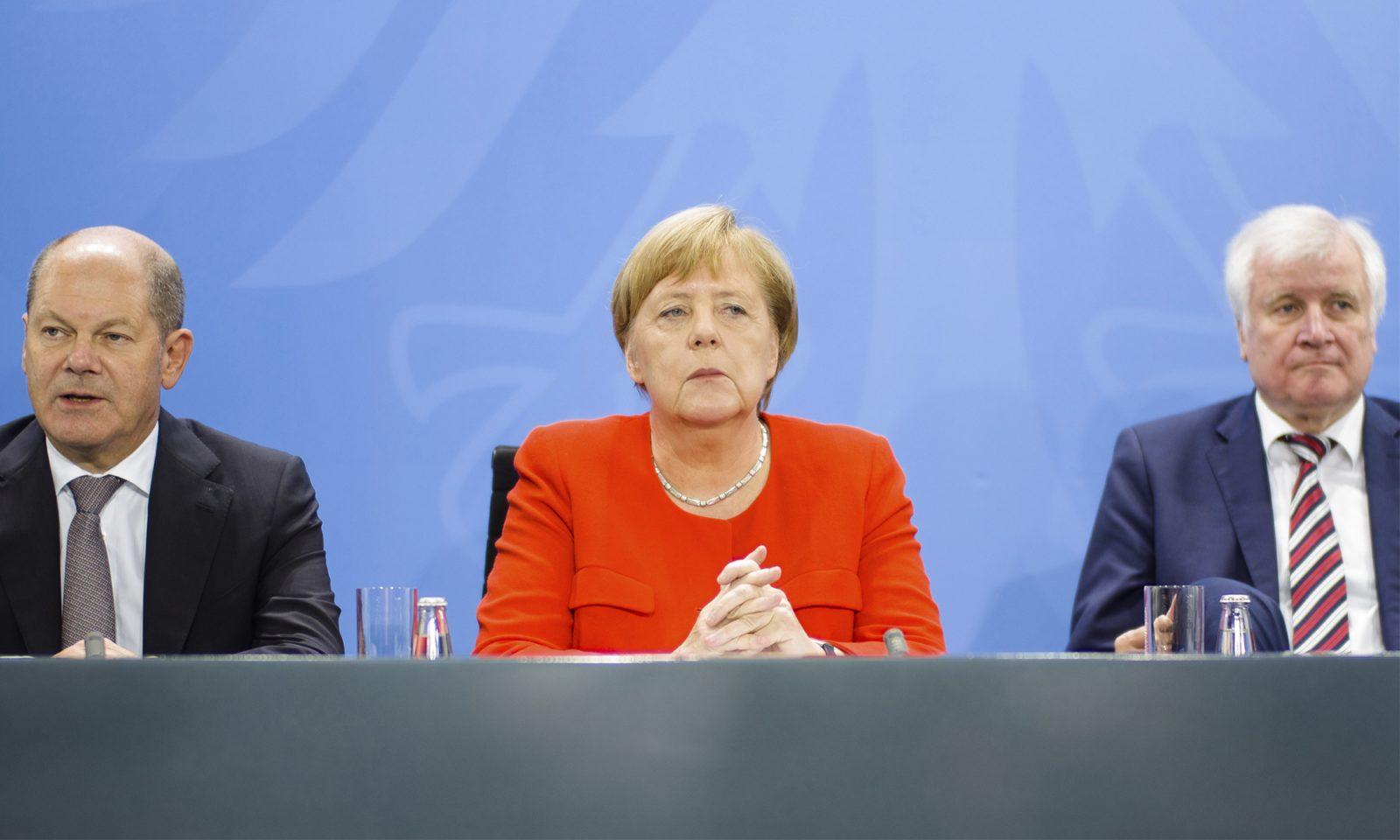 Vizekanzle Olaf Scholz (SPD), Kanzlerin Angela Merkel (CDU) und Innenminister Horst Seehofer (CSU)