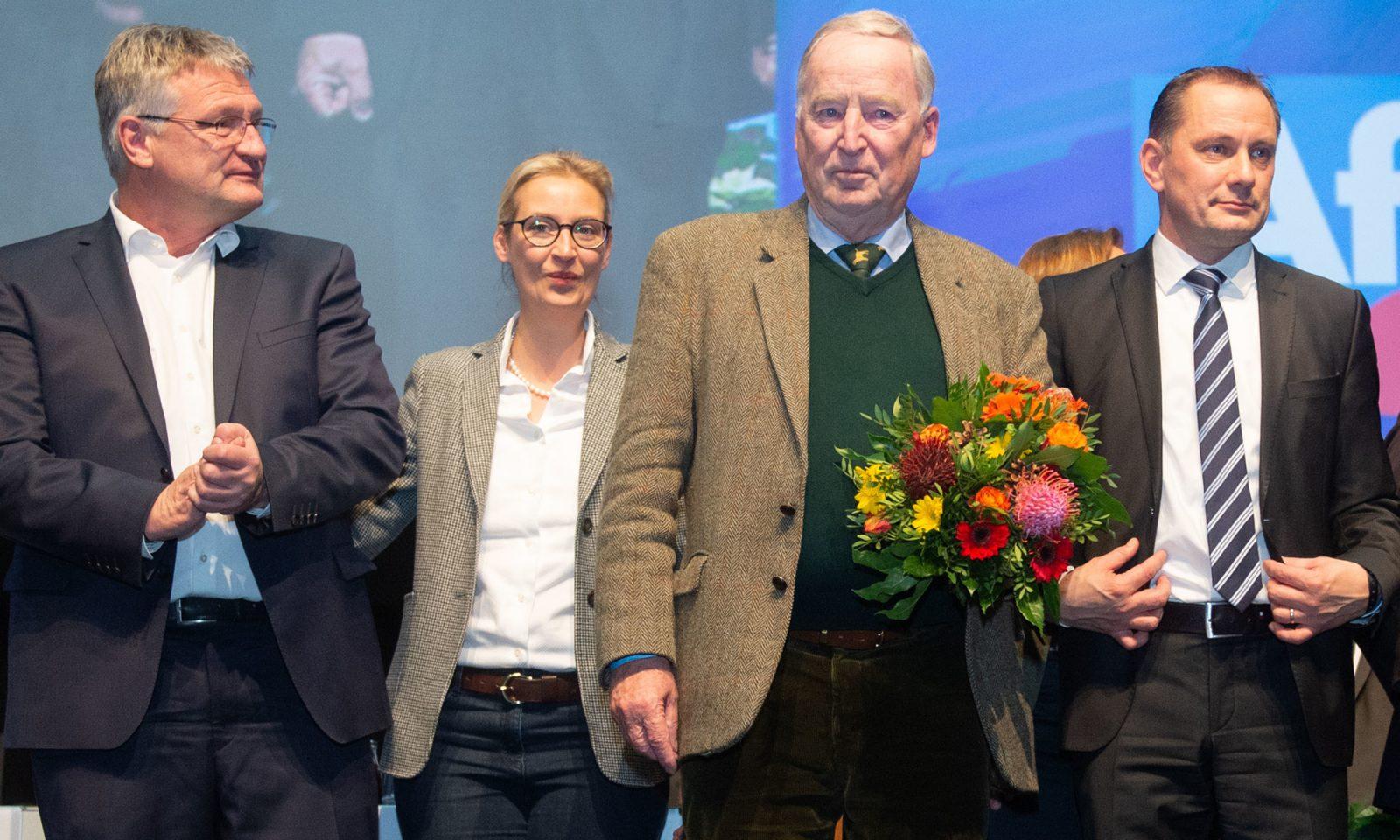 Die AfD-Parteichefs Jörg Meuthen (l.) und Tino Chrupalla (r.) sowie die Fraktionschefs Alice Weidel und Alexander Gauland