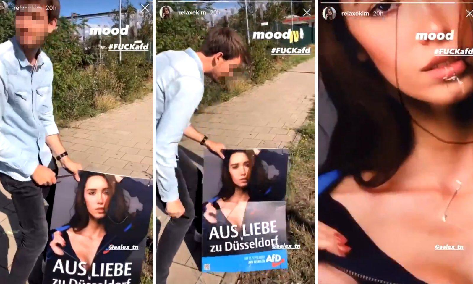Mann sticht auf AfD-Wahlplakat ein