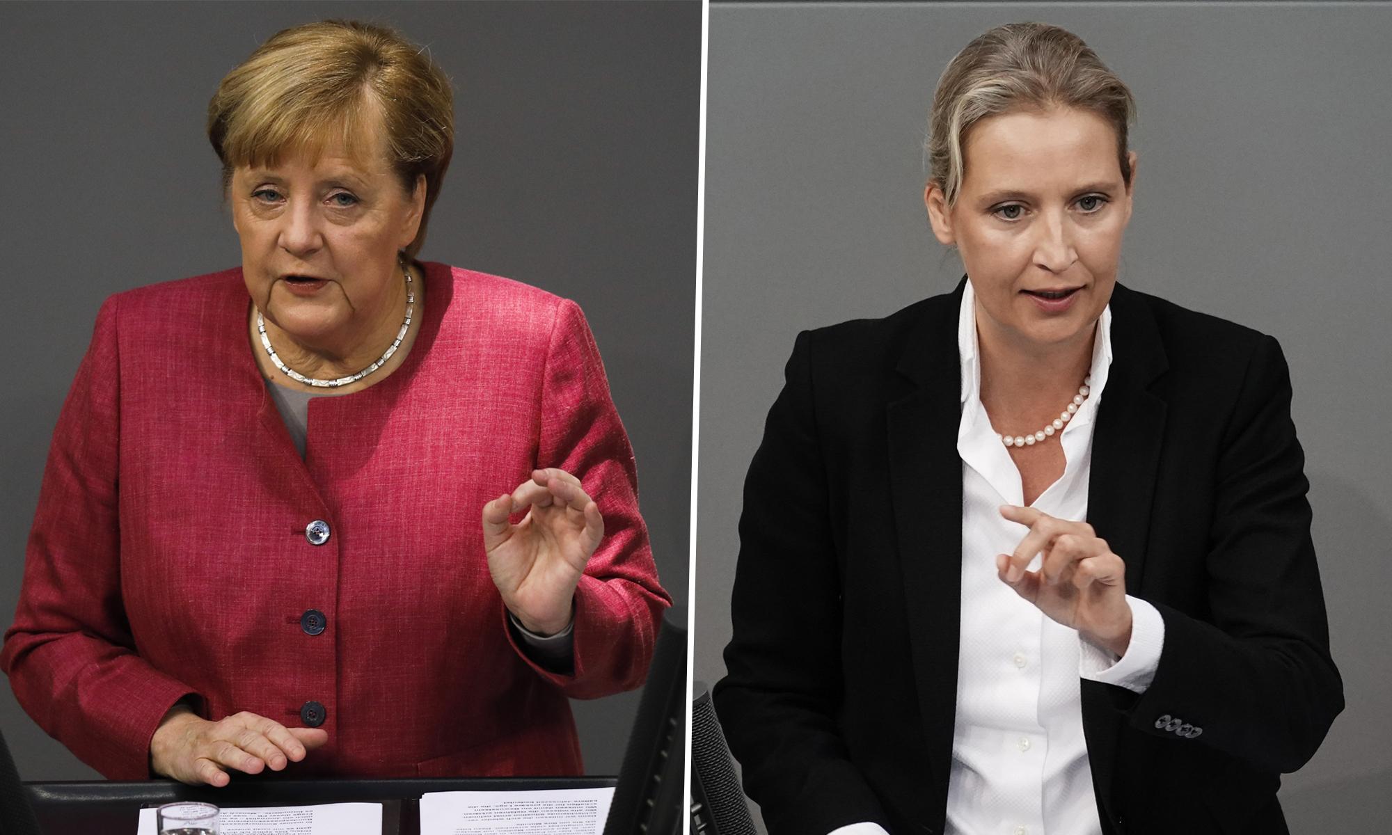 Bundeskanzlerin Angela Merkel (CDU) und AfD-Fraktionschefin Alice Weidel
