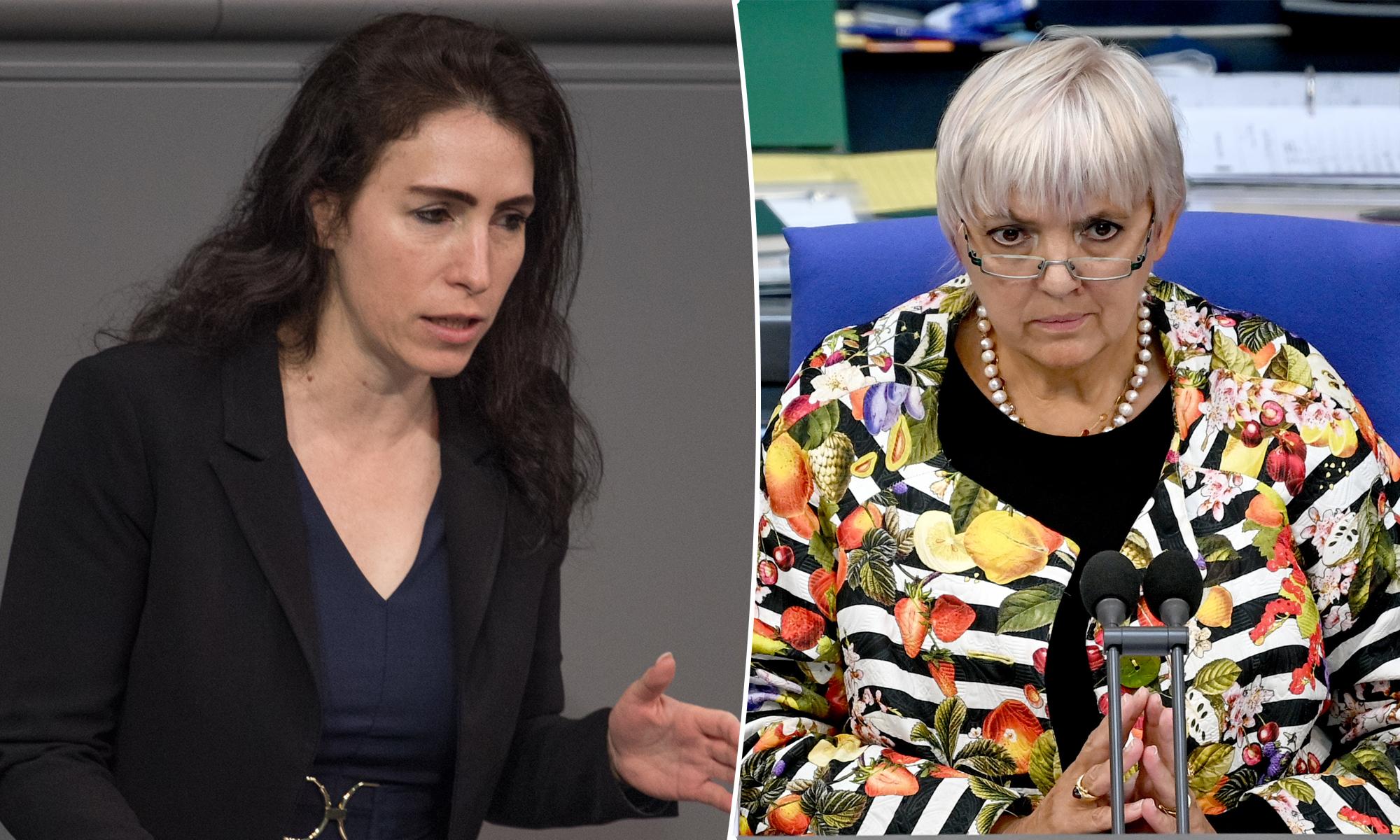 Mariana Harder-Kühnel (AfD, l.) und Claudia Roth (Grüne)