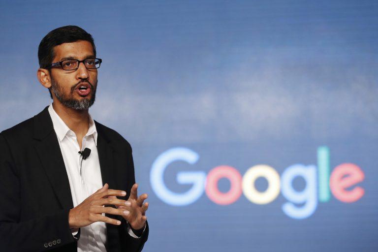 Google-Chef Sundar Pichai: Sein Unternehmen wird vom US-Justizministerium verklagt Foto: picture alliance / AP Photo