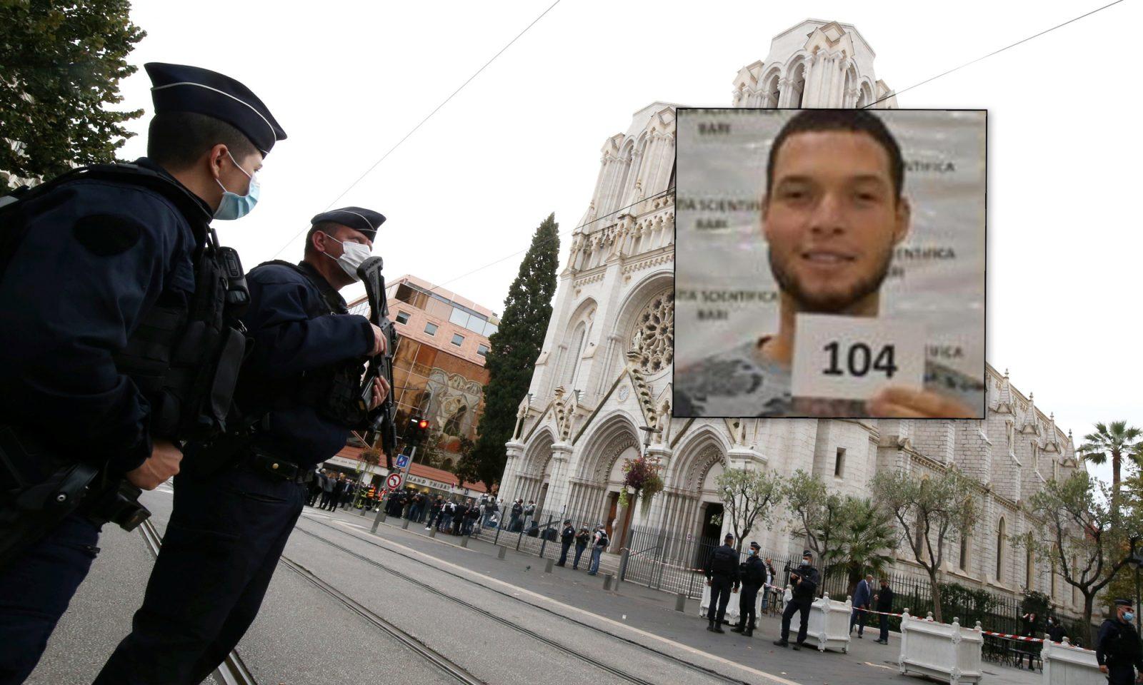 Polizisten vor der Notre-Dame-Basilika, Brahim Aoussaoui