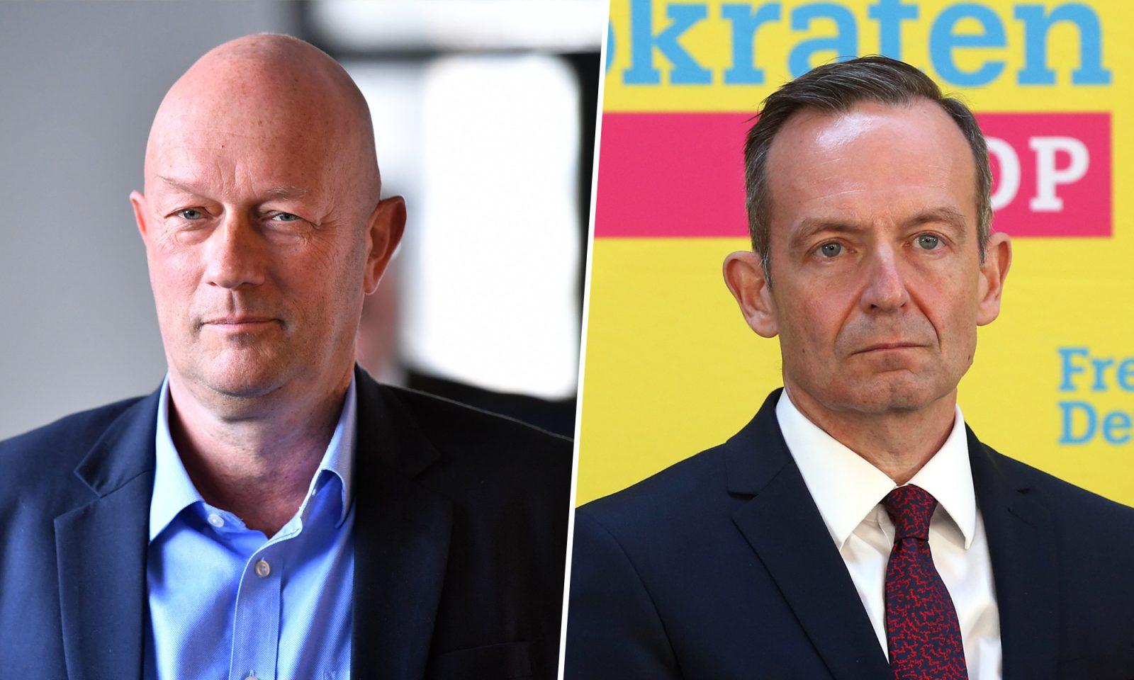 Thüringens FDP-Chef Thomas Kemmerich (l.) und FDP-Generalsekretär Volker Wissing