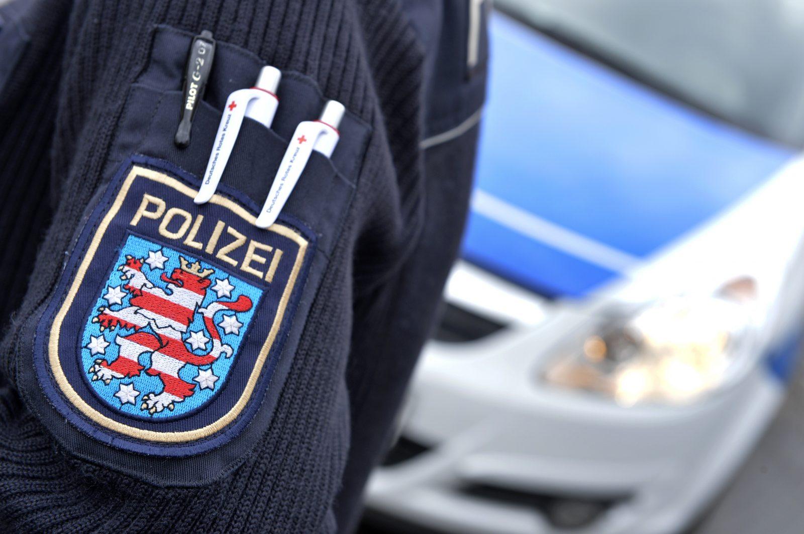 Thüringens Wappen auf einer Polizeiuniform Foto: picture alliance/Volkmar Heinz/dpa-Zentralbild/ZB