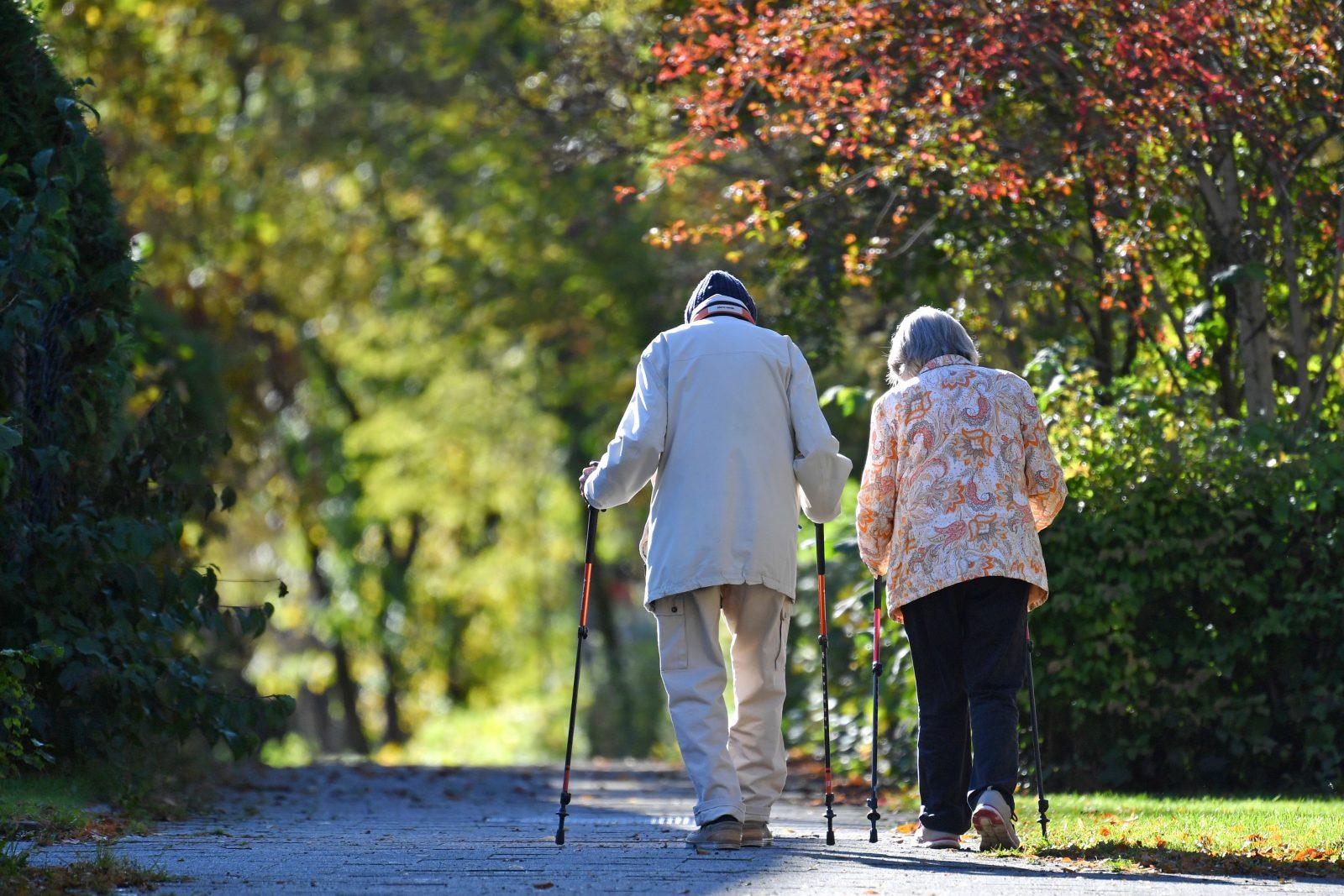 Älteres Ehepaar geht in der Natur spazieren: Über 60jährige sind am häugisten bereit, Nachhaltigkeit in ihrem Alltag zu berücksichtigen, um das Klima zu schonen