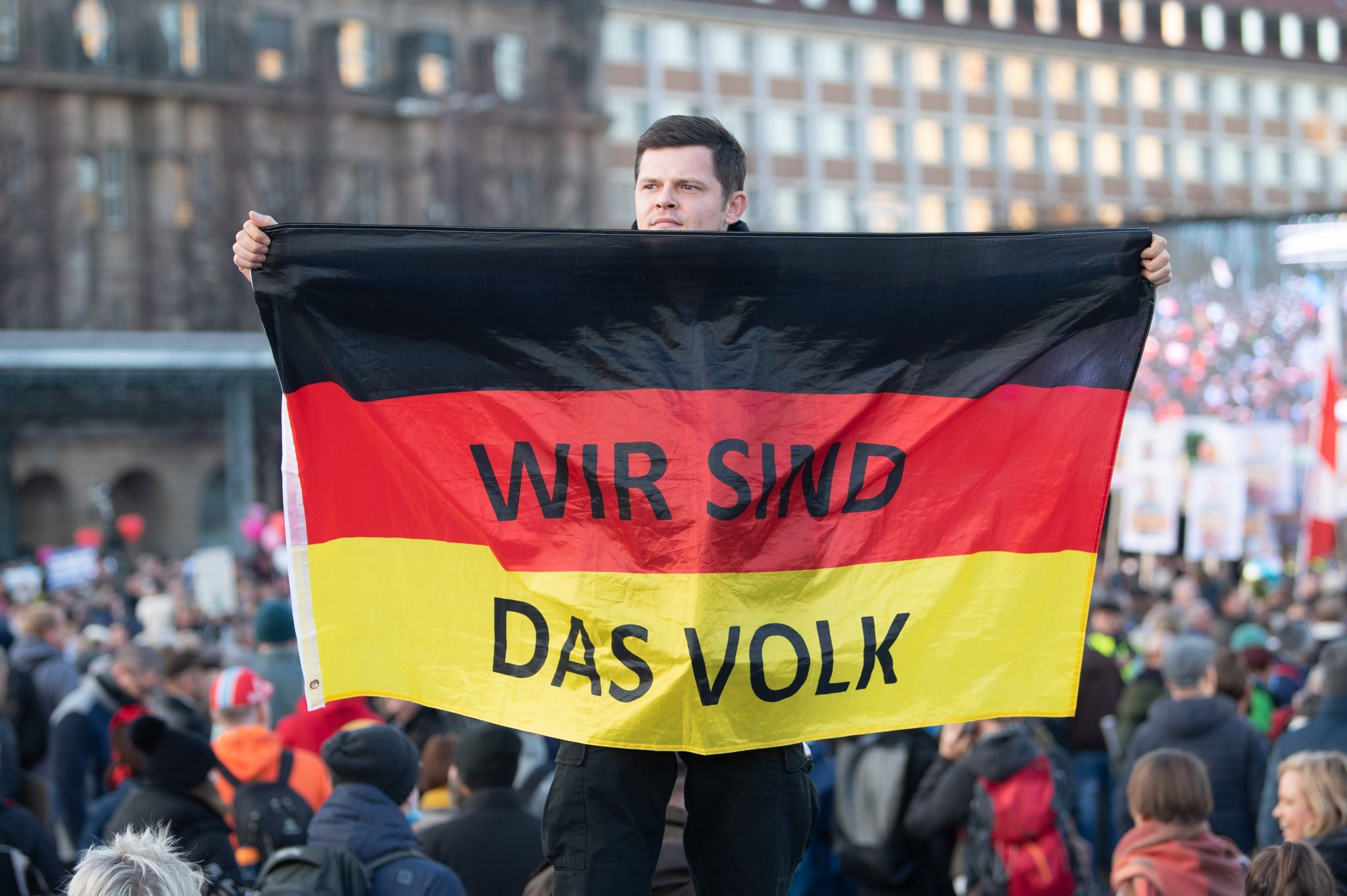 """Demonstrant in Leipzig: """"Wir sind das Volk"""""""