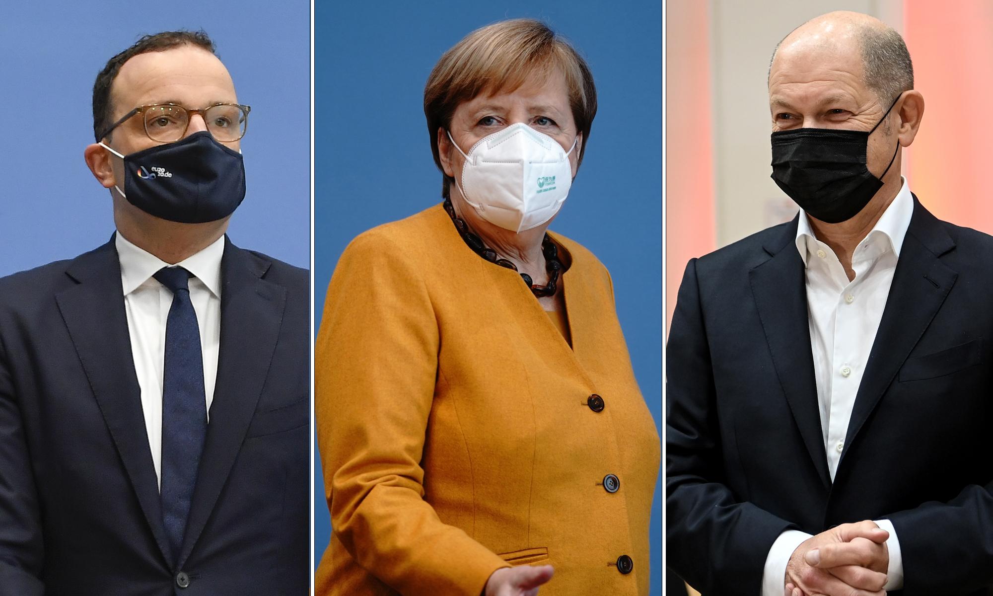 Bundesgesundheitsminister Jens Spahn, Kanzlerin Angela Merkel (beide CDU) und Vizekanzler Olaf Scholz (SPD)