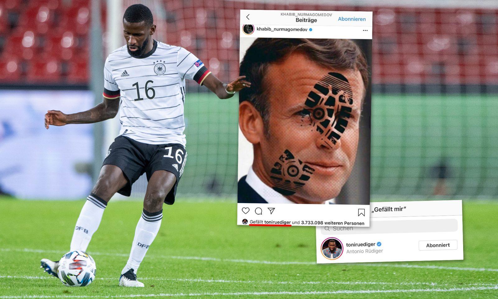 """Fußball-Nationalspieler Antonio Rüdiger """"gefällt"""" islamistischer Anti-Macron-Eintrag"""