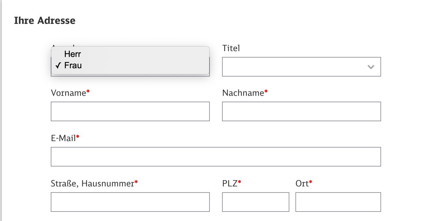Auswahlmöglichkeiten zur Anrede bei einem Online-Ticket der Deutschen Bahn: Laut dem Frankfurter Landgericht verletzt dies das Persönlichkeitsrecht von Menschen, die sich keinem der beiden Geschlechtern zugehörig fühlen