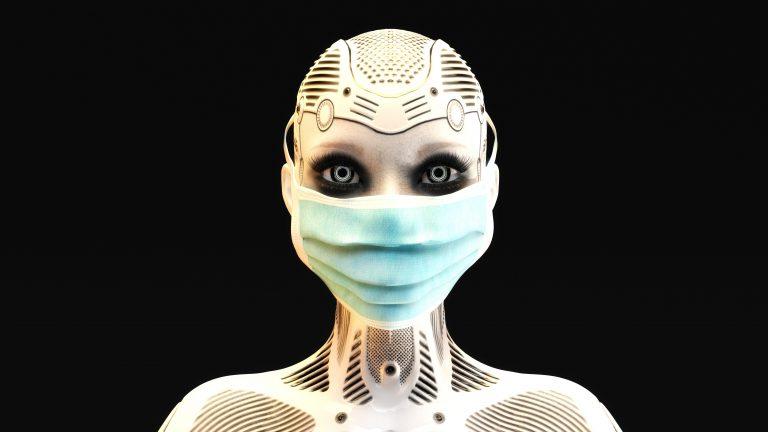 3D-Illustration eines Mischwesens aus Mensch und Maschine