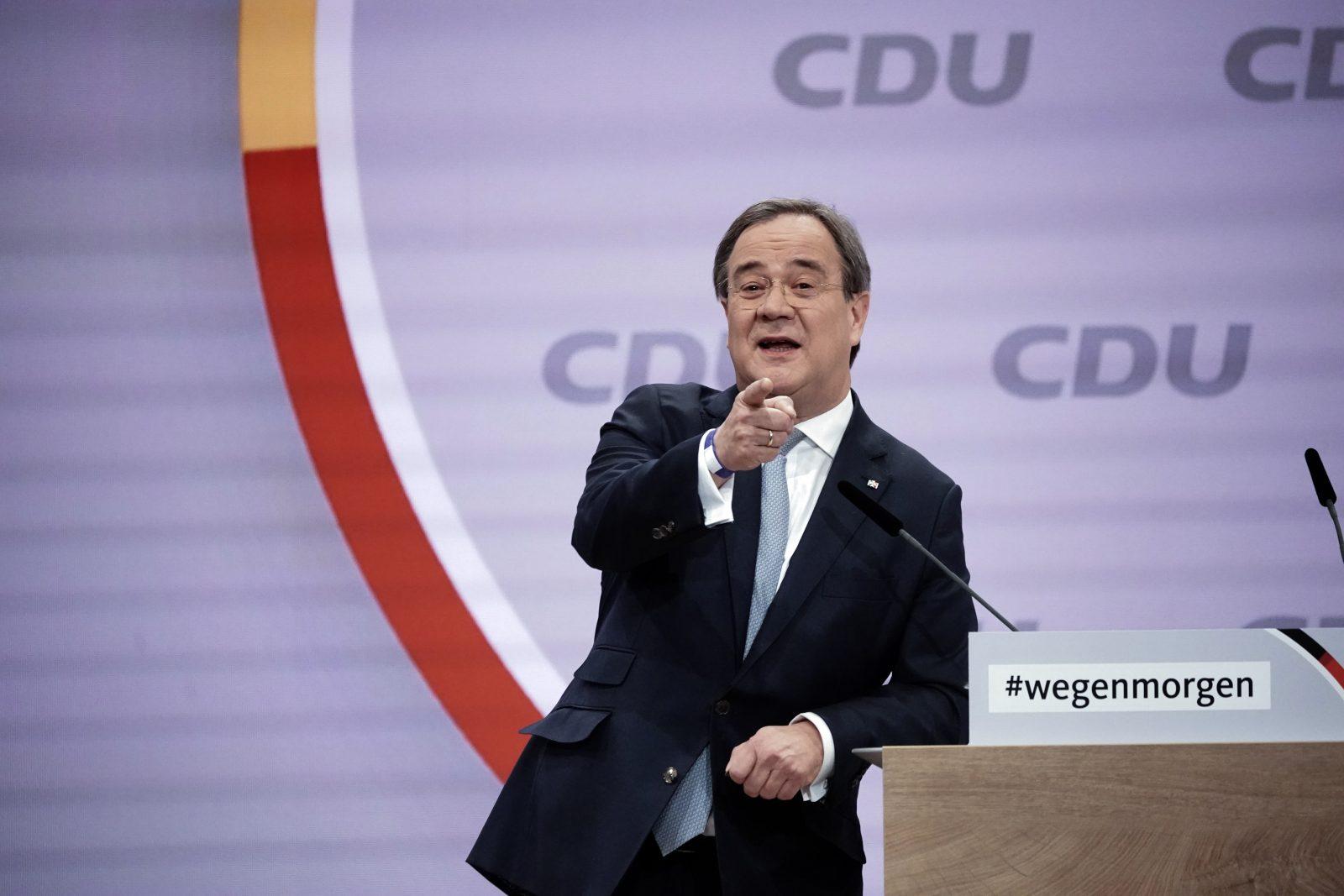 Armin Laschet während seiner Bewerbungsrede auf dem Digitalparteitag in Berlin