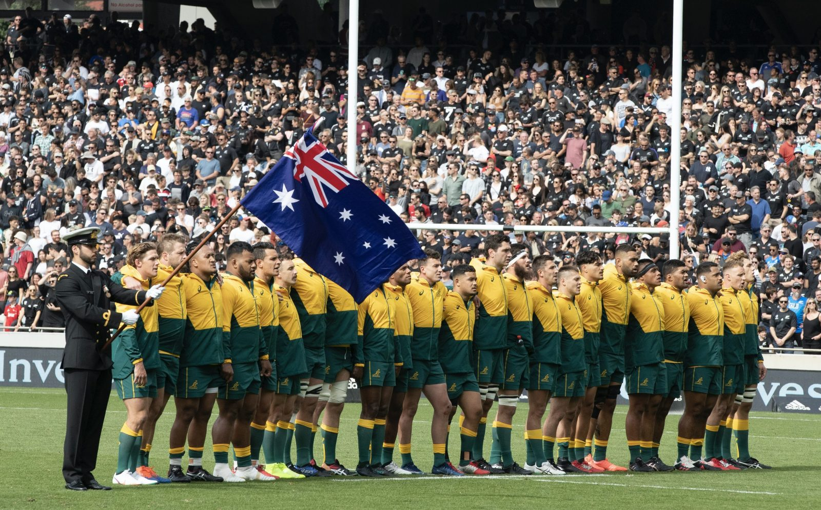 Die australische Rugby-Nationalmannschaft singt die Hymne (Archivbild) Foto: picture alliance / ASSOCIATED PRESS | Mark Baker