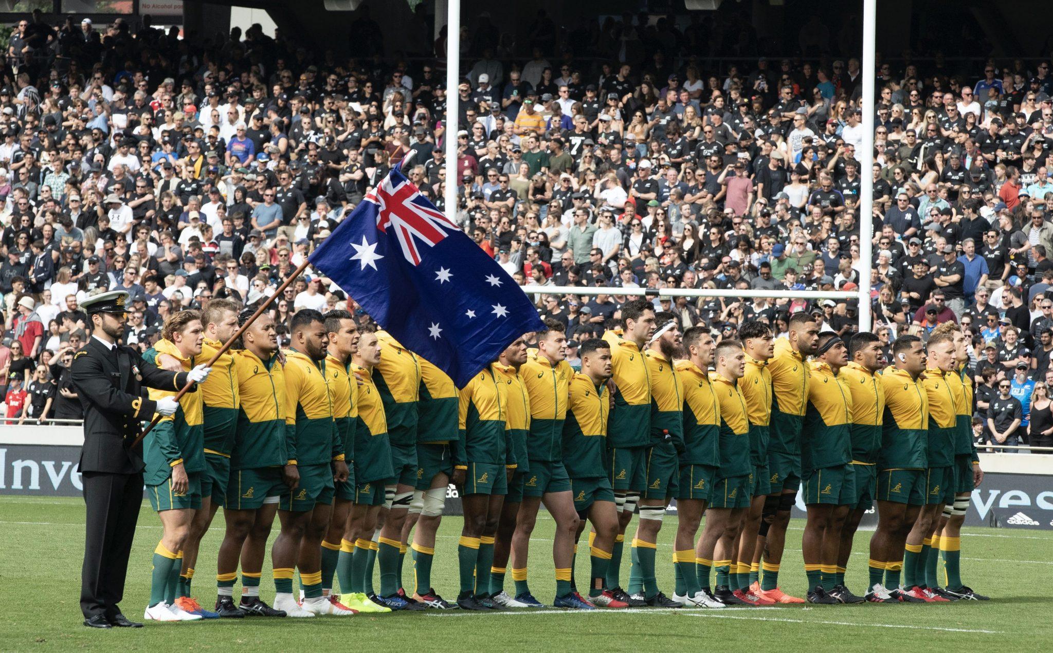 Die australische Rugby-Nationalmannschaft singt die Hymne (Archivbild) Foto: picture alliance / ASSOCIATED PRESS | Mark Baker
