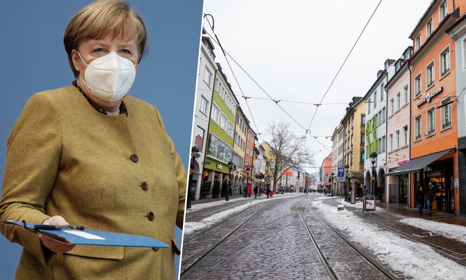 Kanzlerin Angela Merkel (CDU), Freiburger Innenstadt mit geschlossenen Läden